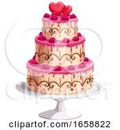 Wedding Cake With Hearts