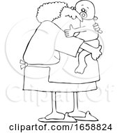 Cartoon Black And White Granny Holding A Baby