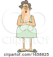Cartoon Senior Woman With Her Breasts Hanging Low