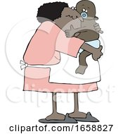 Cartoon Granny Holding A Baby