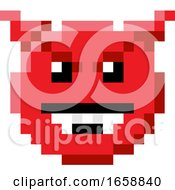 Emoticon Face Pixel Art 8 Bit Video Game Icon