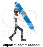 Black Doctor Man Holding Pen Mascot Concept