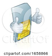 Mobile Phone Sim Card Cartoon Mascot