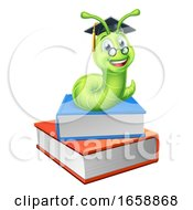 Bookworm Worm And Books by AtStockIllustration