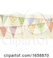 07/16/2019 - Vintage Retro Bunting On Crumbled Material Panel