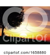 3D Child Sat Under A Tree Against A Sunset Landscape