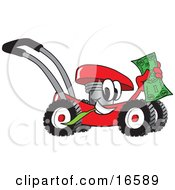 Clipart Picture Of A Red Lawn Mower Mascot Cartoon Character Passing By And Carrying A Dollar Bill by Toons4Biz
