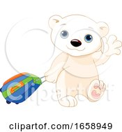Poster, Art Print Of Ciute Polar Bear Traveling And Waving Goodbye