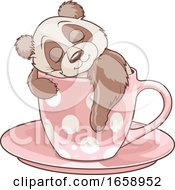 Cute Panda Sleeping In A Cup
