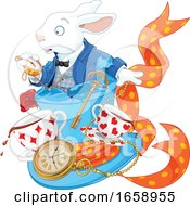 Poster, Art Print Of Late White Rabbit Looking At A Watch Over Teac Cups And A Clock