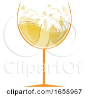 Glass Of White Wine With Silhouetted Italian Travel Icons