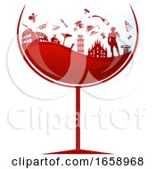 Glass Of Red Wine With Silhouetted Italian Travel Icons