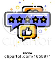 Icon Of Bubbles With Five Stars And Hand Thumb Up