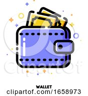 Icon Of Wallet With Banknotes For Shopping And Retail Concept