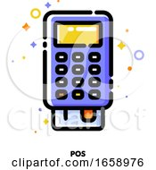 Icon Of Pos Terminal Or Bank Card Reader For Shopping And Retail Concept