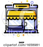 Icon Of Small Shop Building Or Boutique With Showcase For Shopping And Retail Concept