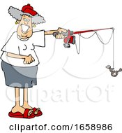 Cartoon Happy Woman Fishing