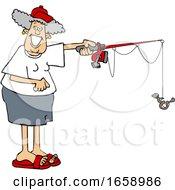 Cartoon Happy Woman Fishing by djart