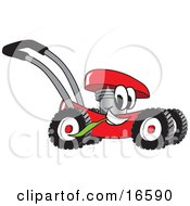 Clipart Picture Of A Red Lawn Mower Mascot Cartoon Character Passing By And Chewing On A Blade Of Grass by Toons4Biz