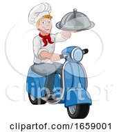 Delivery Chef Scooter Moped Cartoon Takeout Man