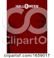 Halloween Red Poster Copy Space With Trees And Decorative Text