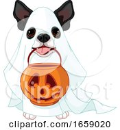 Poster, Art Print Of Cute Halloween Boston Terrier In A Ghost Costume