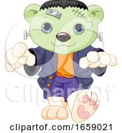 Poster, Art Print Of Cute Halloween Frankenstein Polar Bear Cub