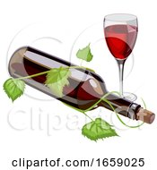 Bottle Of Red Wine And Glass With Vine