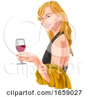 Blond Woman Holding A Glass Of Red Wine by Morphart Creations