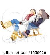 Woman Sledding by Morphart Creations