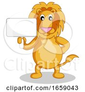 Lion Holding A Sign