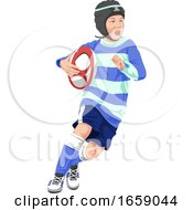 Vector Of Teenage Boy Playing Rugby by Morphart Creations