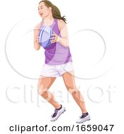 Vector Of Woman Playing Rugby Football by Morphart Creations