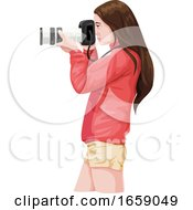 Vector Of Woman Photographer With Slr Camera by Morphart Creations