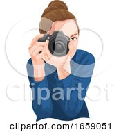 Vector Of Woman Photographing With Camera by Morphart Creations
