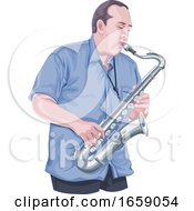 Vector Of Man Playing Saxophone