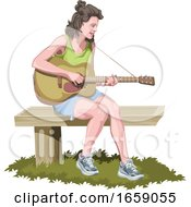 Vector Of Woman Playing Guitar by Morphart Creations