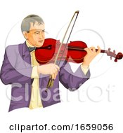 Vector Of Musician Playing Violin