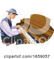 Vector Of Man Playing Piano