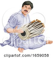 Vector Of Man Playing Dhol