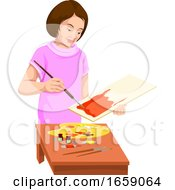 Poster, Art Print Of Vector Of Woman Painting On Canvas