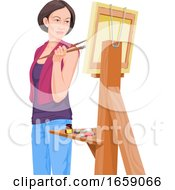 Poster, Art Print Of Vector Of Female Artist Looking At Her Painting