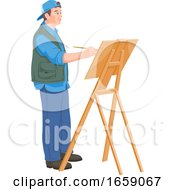 Poster, Art Print Of Vector Of Artist Painting On Canvas