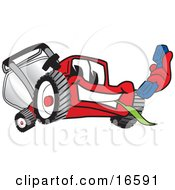 Clipart Picture Of A Red Lawn Mower Mascot Cartoon Character Holding Out A Blue Telephone by Toons4Biz