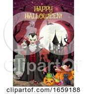 Halloween On Graveyard Dracula And Castle Treats