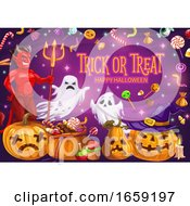 Halloween Pumpkins With Candies Ghosts And Devil