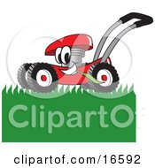Clipart Picture Of A Red Lawn Mower Mascot Cartoon Character Mowing Grass by Toons4Biz