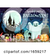Spooky Halloween Party On Graveyard Moon And Ghost