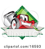 Clipart Picture Of A Red Lawn Mower Mascot Cartoon Character On A Blank Label