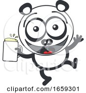 Cartoon Panda Holding A Beer